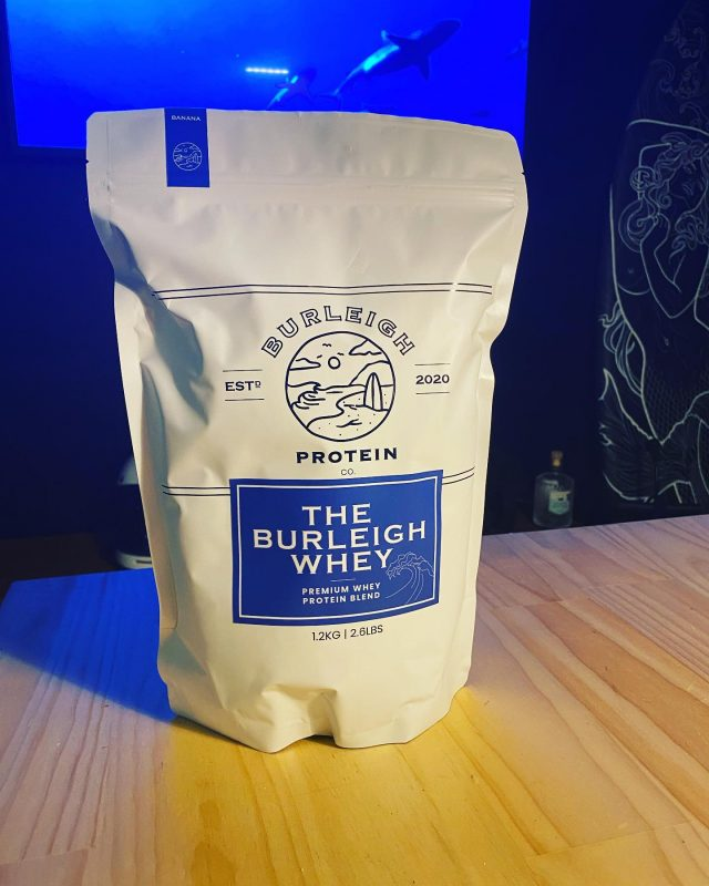 Huge thanks to the legends @burleighproteinco for hooking us up 👊👊 logo looking awesome 😎 and packaging on point 💪💪 Great job guys and tastes great 👏👏.  Big things to come from these guys.... Go get your protein fix the Burleigh Whey!!